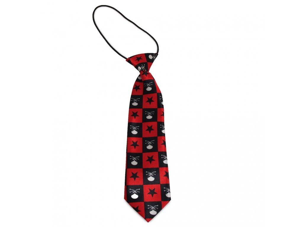 Dětská kravata červená a černá s hvězdami