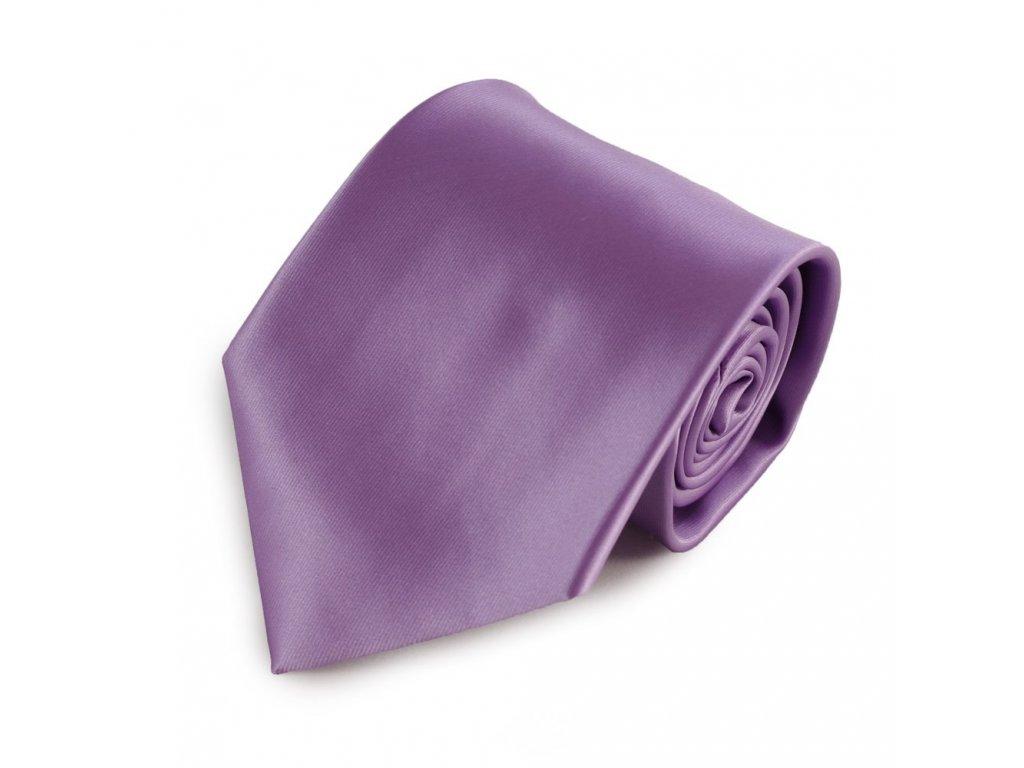 Fialová jednobarevná mikrovláknová kravata