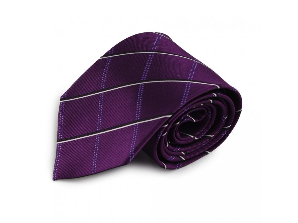 Fialová károvaná mikrovláknová kravata