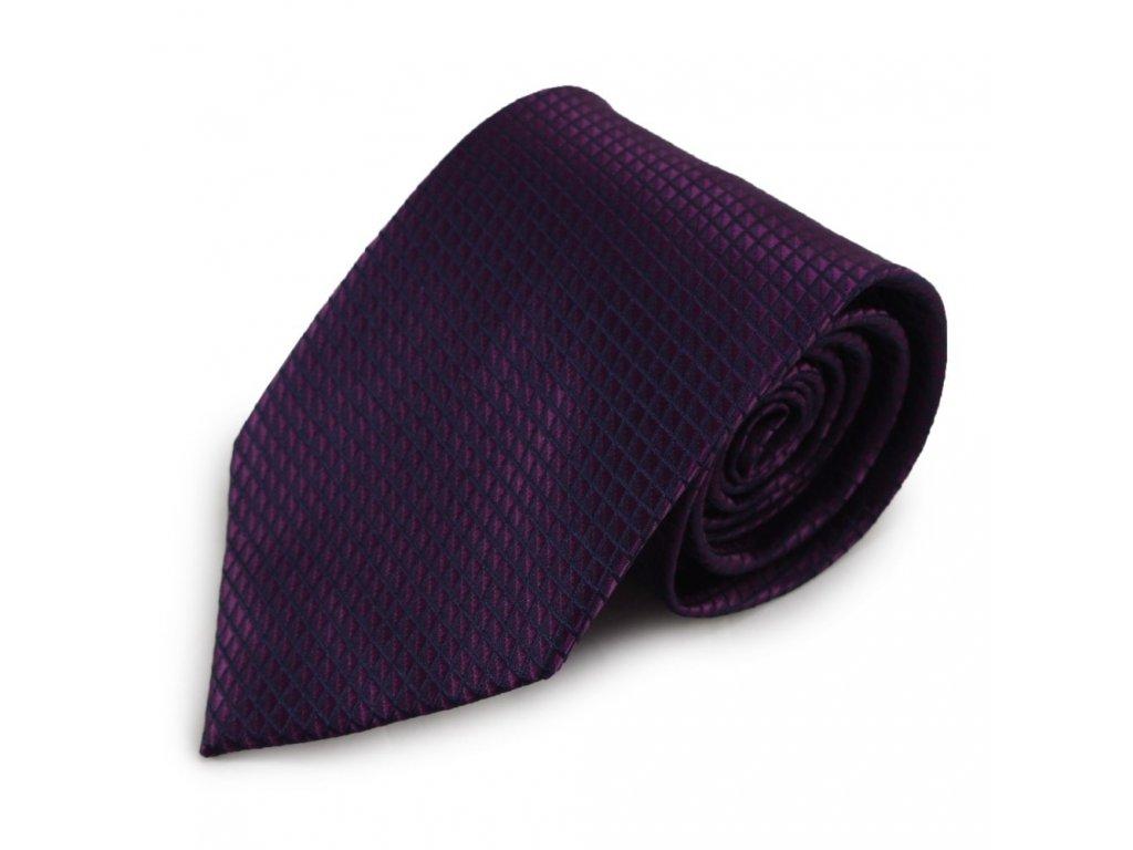 Fialová mikrovláknová kravata s decentním vzorem (černá)