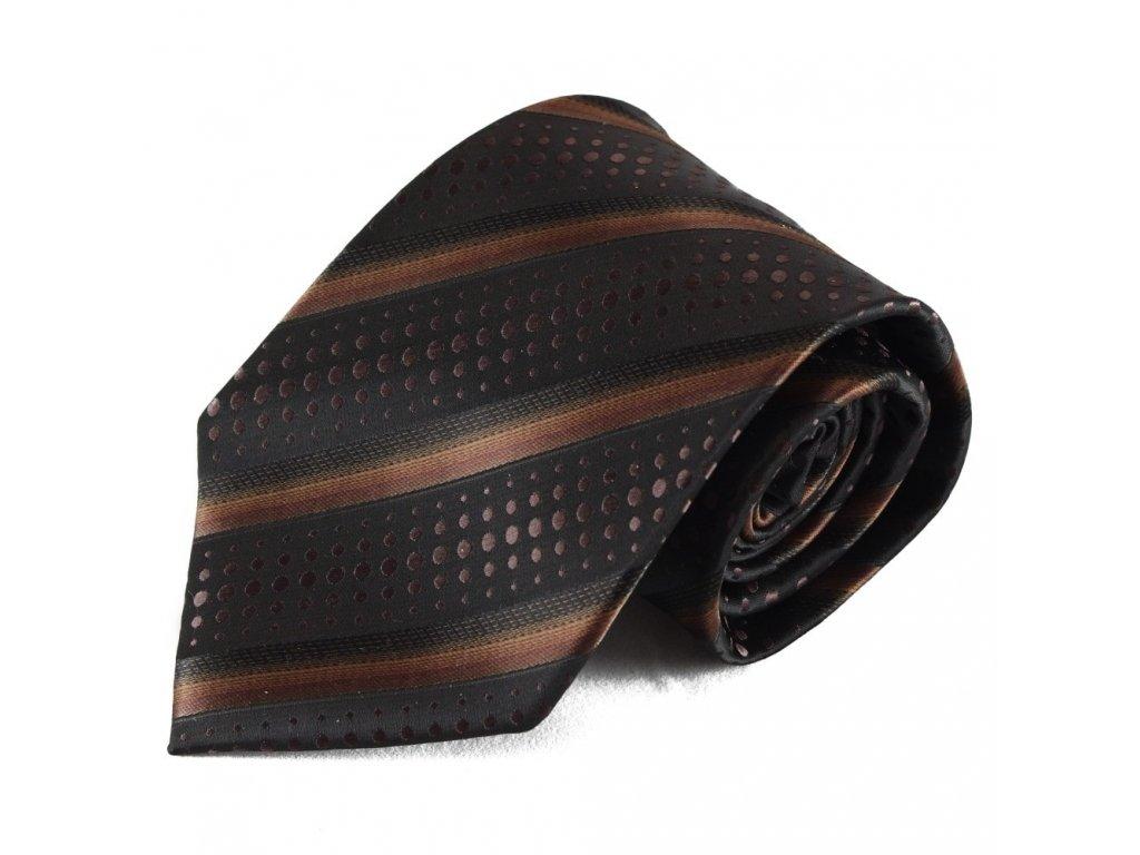 Hnědá pruhovaná mikrovláknová kravata