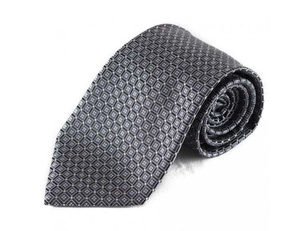 Mikrovláknová kravata (šedá) se vzorkem (stříbrná)