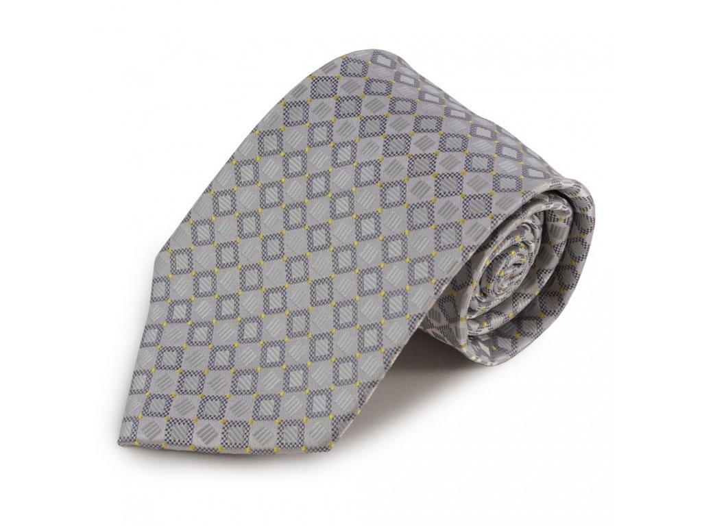 Mikrovláknová kravata s drobným károvaným vzorem (šedá, žluté tečky)
