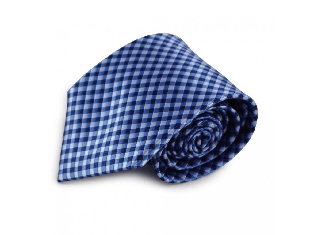 Modrá mikrovláknová kravata s kostičkovaným vzorem