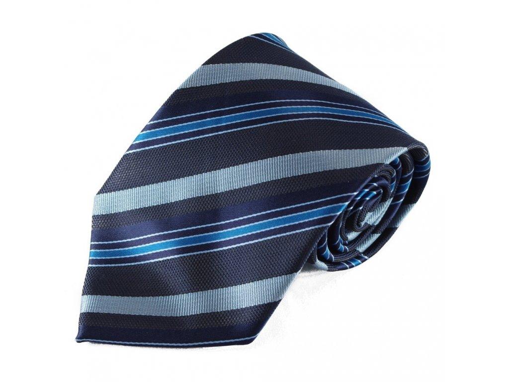 Modrá pruhovaná kravata z mikrovlákna 5012