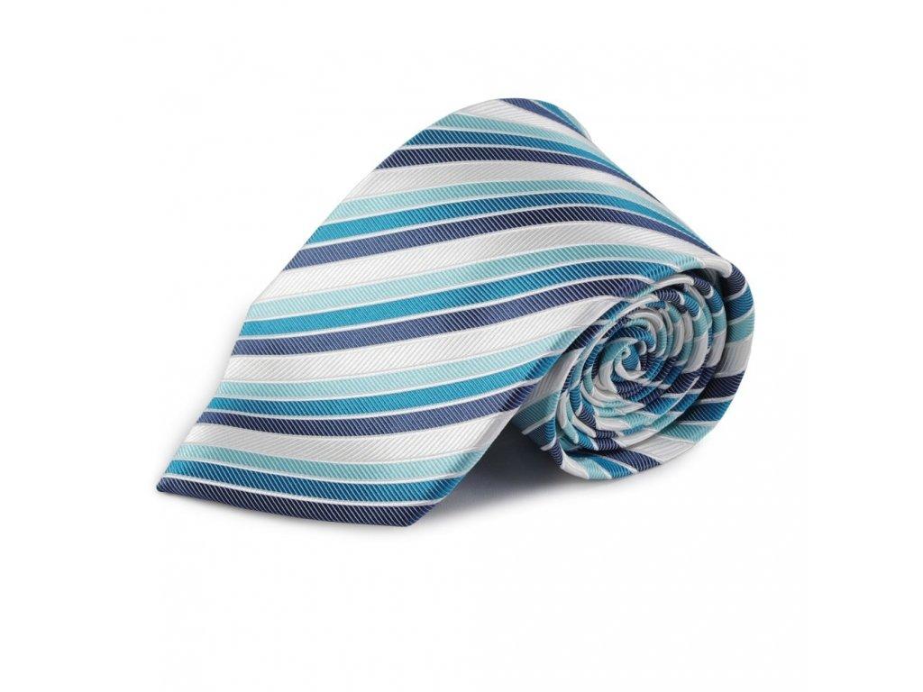 Proužkovaná hedvábná kravata (modrá, tyrkysová, bílá)