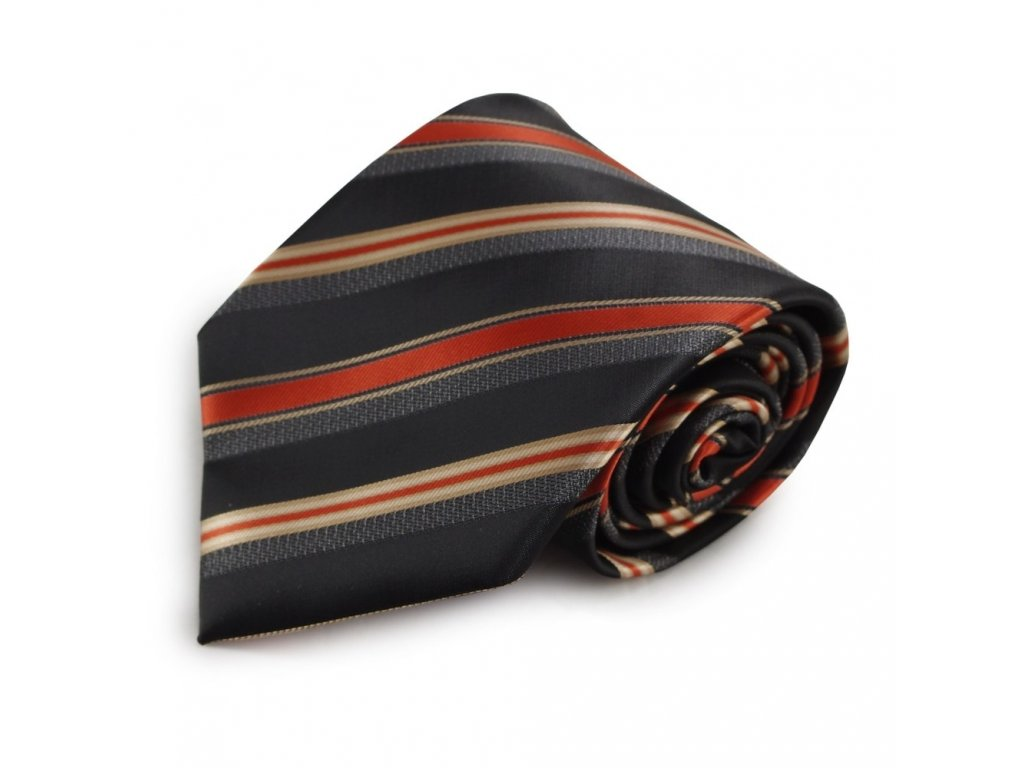 Proužkovaná mikrovláknová kravata (šedá, oranžová)
