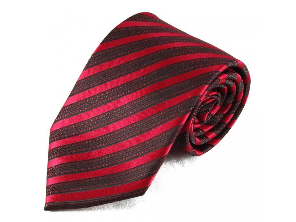 Pruhovaná mikrovláknová kravata - červená a černá