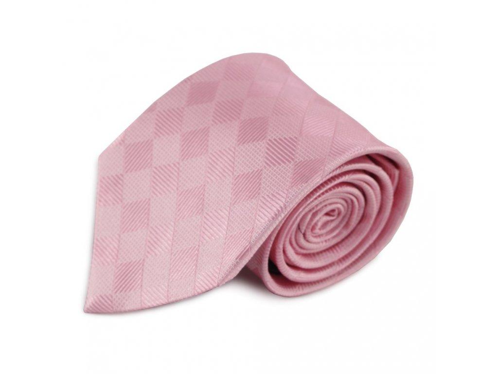 Růžová hedvábná kravata s decentním károvaným vzorem