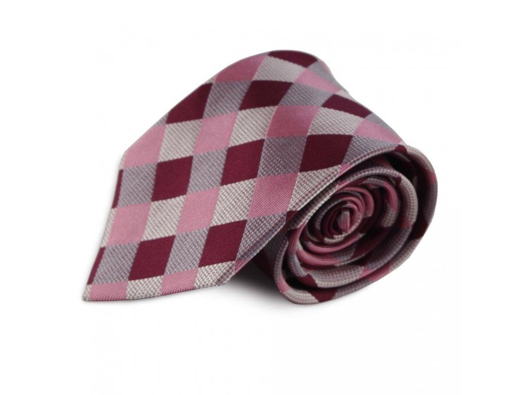 Růžová hedvábná kravata s károvaným vzorem (stříbrná, bordó)