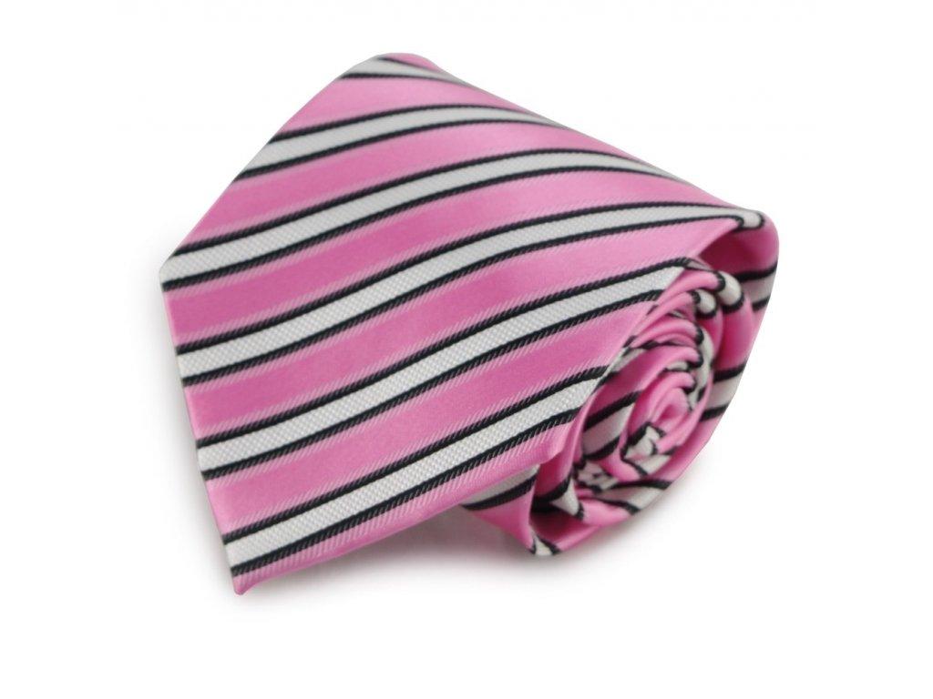 Růžová mikrovláknová kravata s proužky (bílá, černá)