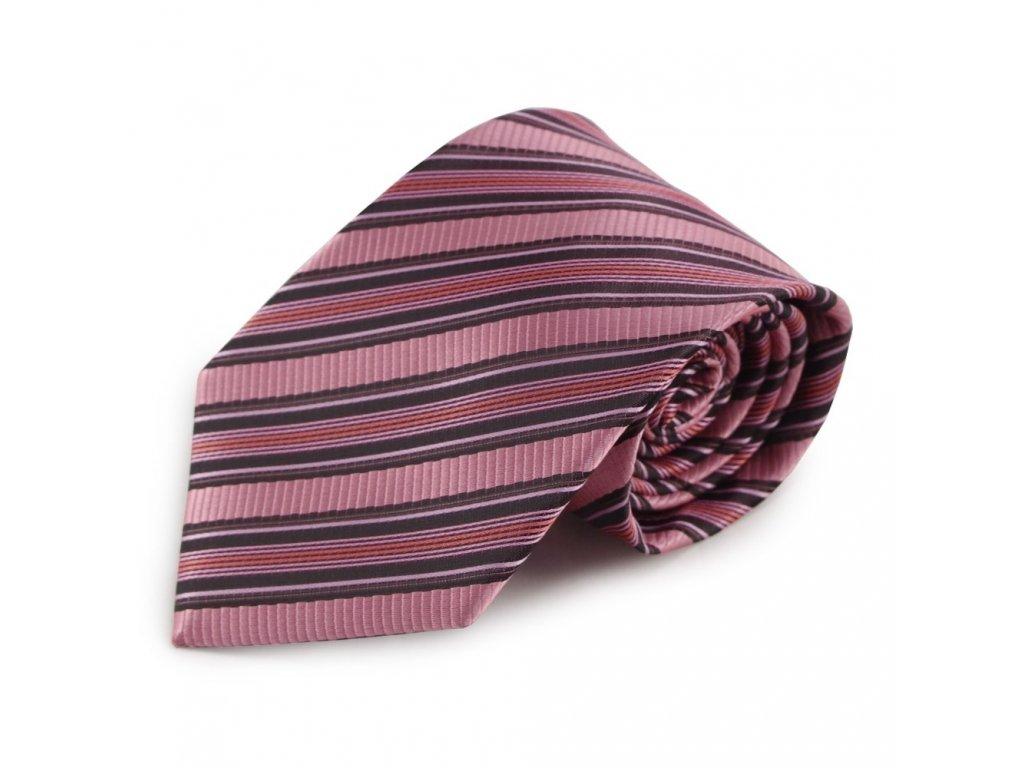 Růžová proužkovaná mikrovláknová kravata