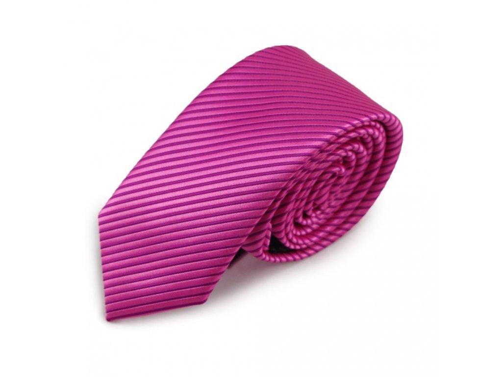 Růžová úzká mikrovláknová kravata