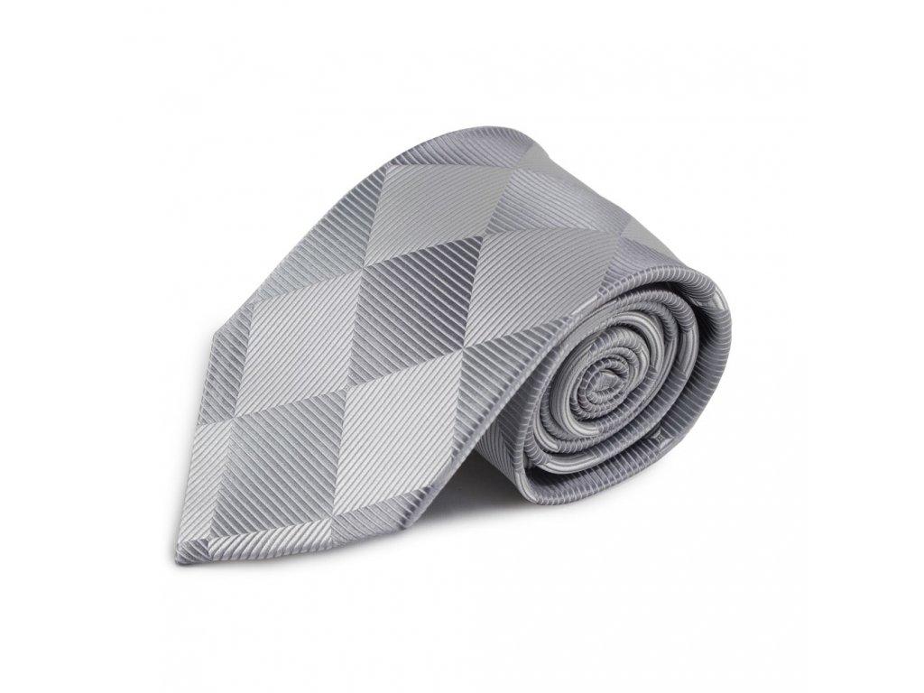 Stříbrná hedvábná kravata s károvaným vzorem
