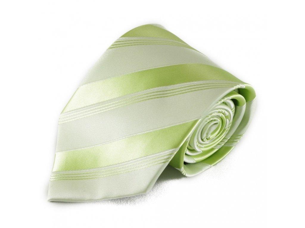 Světlá zelená mikrovláknová kravata s pruhy