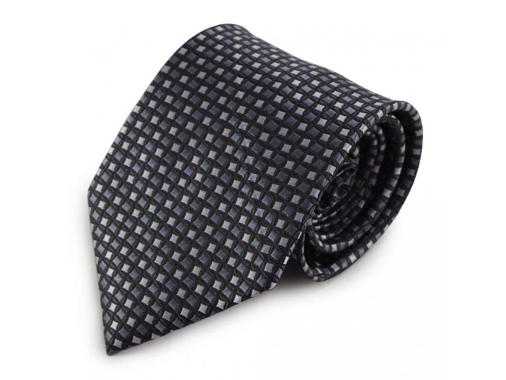 Šedá mikrovláknová kravata se vzorem