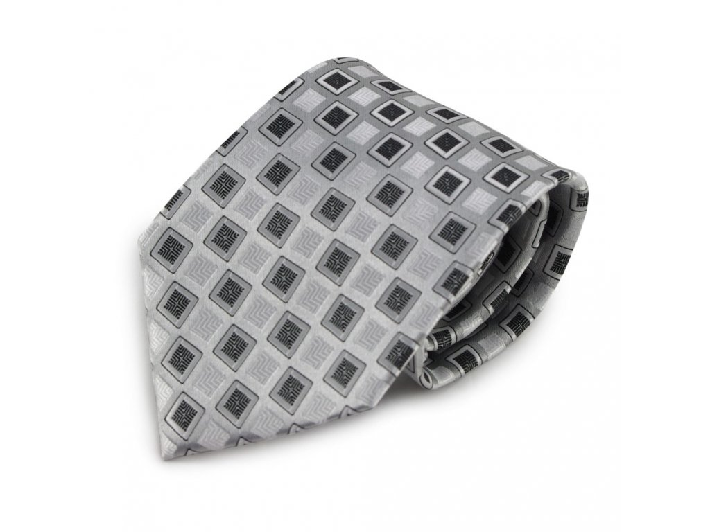 Šedo-stříbrná mikrovláknová kravata se vzorem (černá)