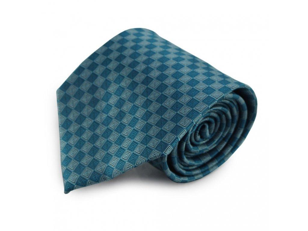 Tmavě tyrkysová mikrovláknová kravata s kostičkovým vzorem