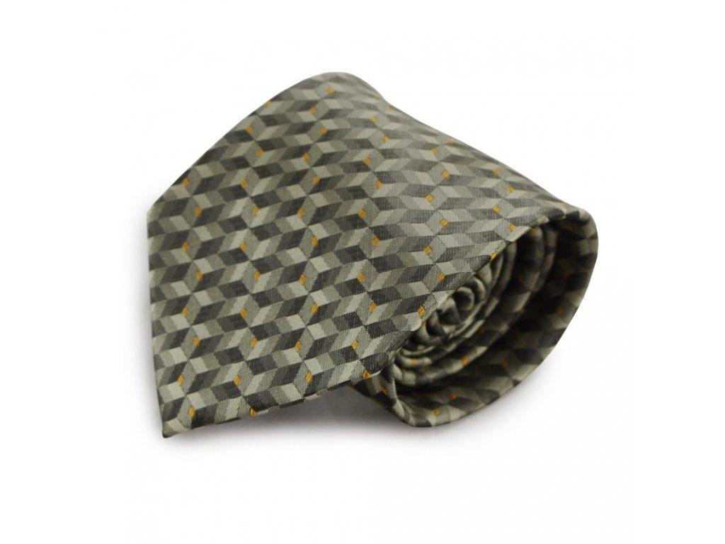 Tmavě zelená mikrovláknová kravata s atypickým vzorem (oranžové tečky)