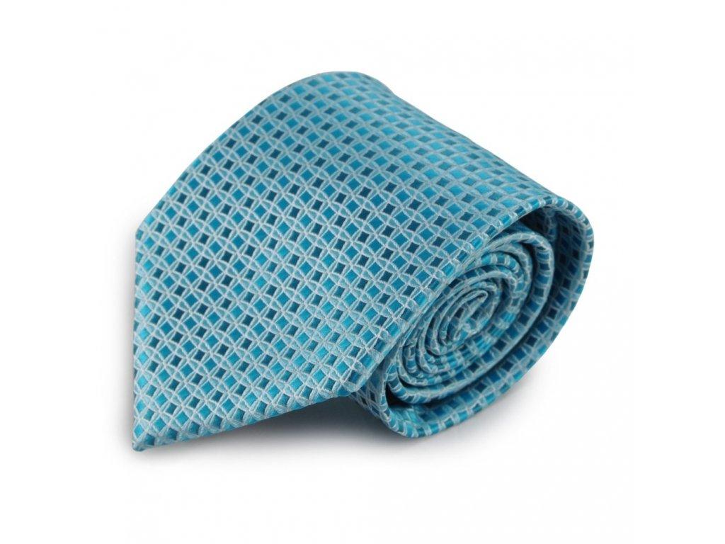 Tyrkysová mikrovláknová kravata se vzorem