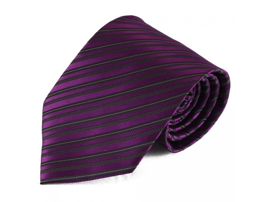 Výrazná fialová pruhovaná mikrovláknová kravata