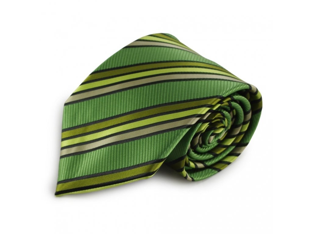 Zelená proužkovaná mikrovláknová kravata