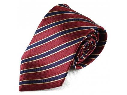 Červená hedvábná kravata s proužkem (tmavě modrá)