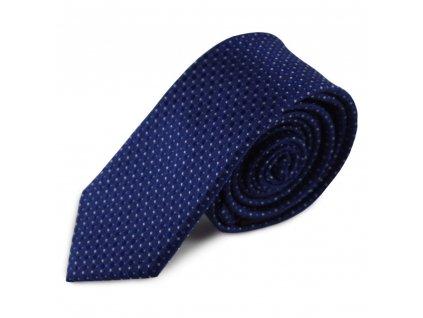 Modrá úzká hedvábná kravata s jemným vzorkem