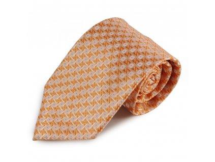 Oranžová mikrovláknová kravata se zajímavým vzorem