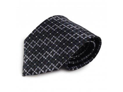 Šedá mikrovláknová kravata s atypickým vzorem