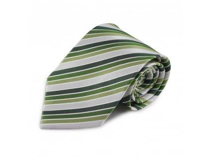 Zelená proužkovaná hedvábná kravata