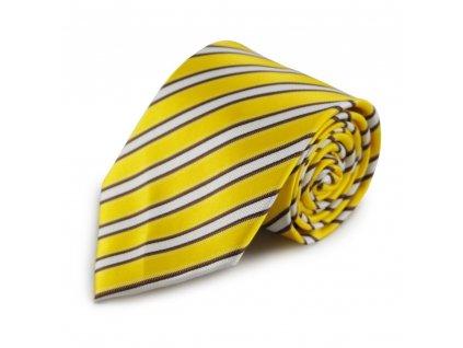 Žlutá mikrovláknová kravata s proužky (bílá, černá)