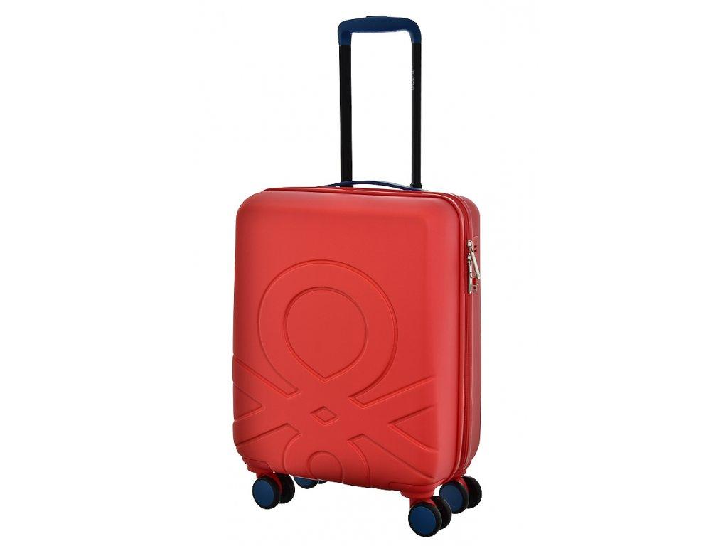 173533 7 cestovni kufr benetton ultra logo s cervena