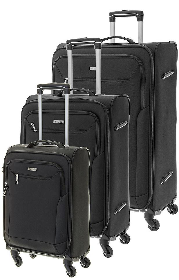 Cestovní kufry set 3ks d&n S,M,L 6804SET-01 189 L černá