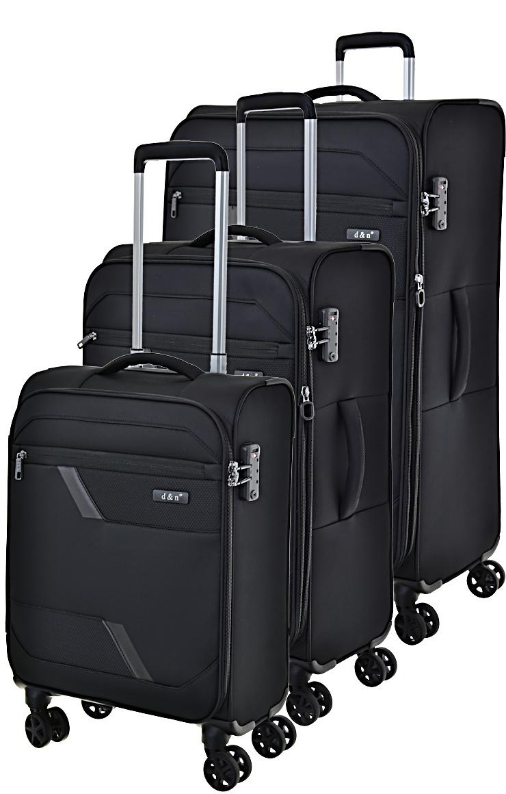 Cestovní kufry set 3ks d&n S,M,L 7004-01 203 L černá