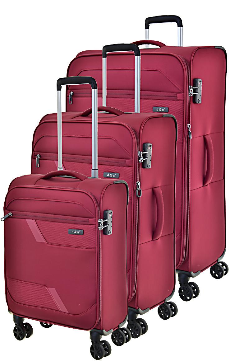 Cestovní kufry set 3ks d&n S,M,L 7004-12 203 L červená
