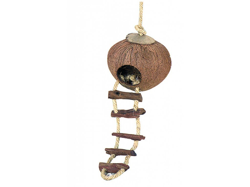 Domek kokos křeček se žebříkem, EBI prům. 13 x 13 cm