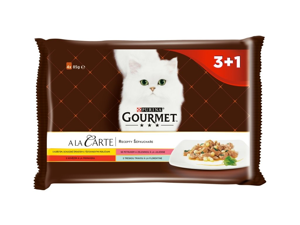 Gourmet A la Carte cat kaps. Multip.kuře,hovězí 4 x 85 g (3+1zdarma)