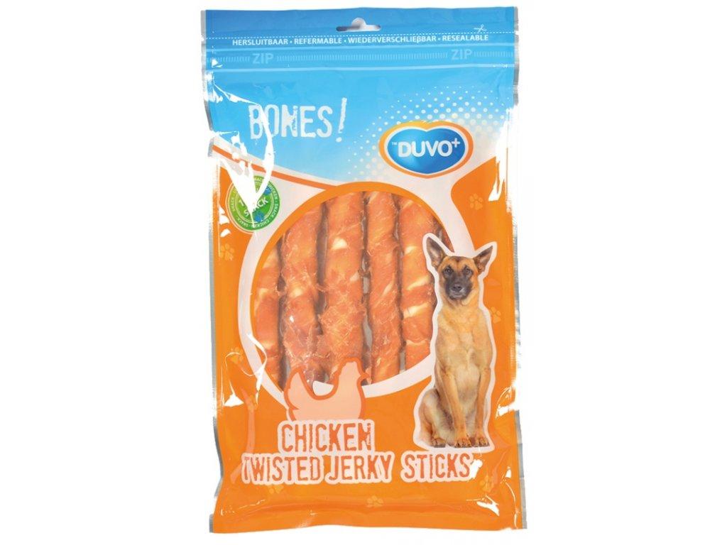 Duvo+ Bones! Kuřecí twisted jerky tyčky 25 cm 365 g