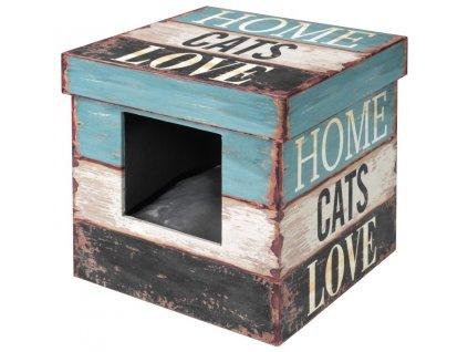 Domek cat dřevo Krabice Home cats Love D&D 35 x 35 x 35 cm