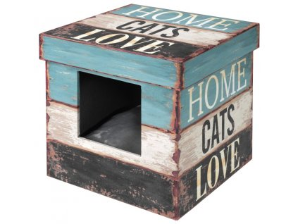 Domek cat dřevo Krabice Home cats Love D&D 35 x 35 x 35 cm