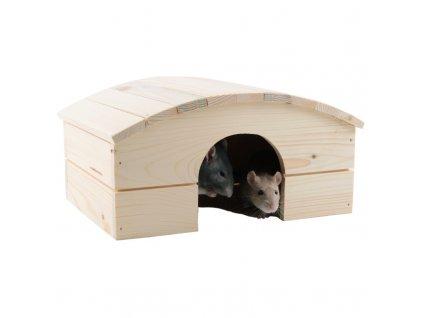 Domek dřevo králík obloukovitá střecha 30 x 22 x 16 cm