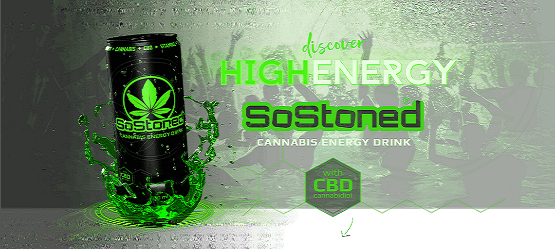 SoStoned Cannabis Energy drink s CBD 330ml
