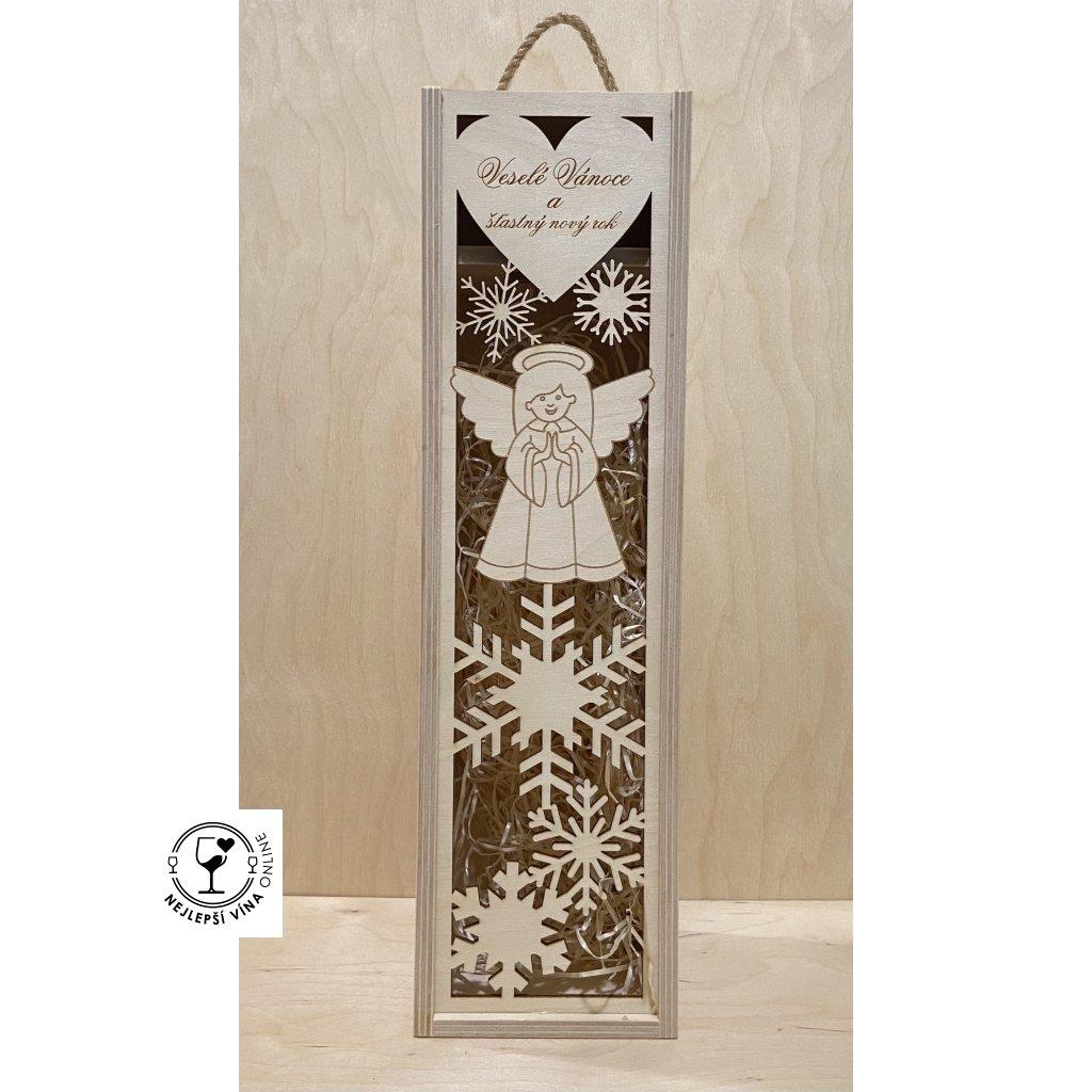 Dřevěná dárková kazeta na víno - Vánoční