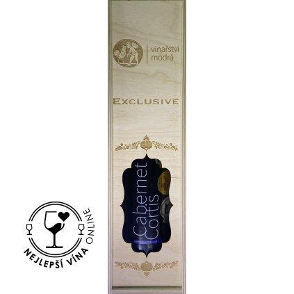 Dřevěná dárková kazeta na víno Vinařství Modrá