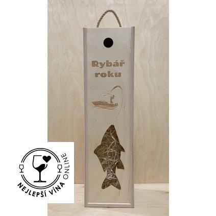 Dřevěná dárková kazeta na víno - Rybář