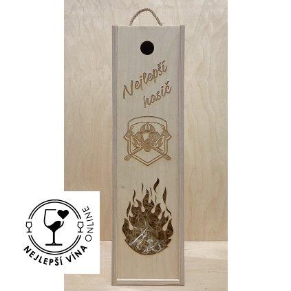 Dřevěná dárková kazeta na víno - Hasič