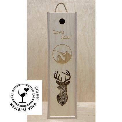 Dřevěná dárková kazeta na víno - Myslivec