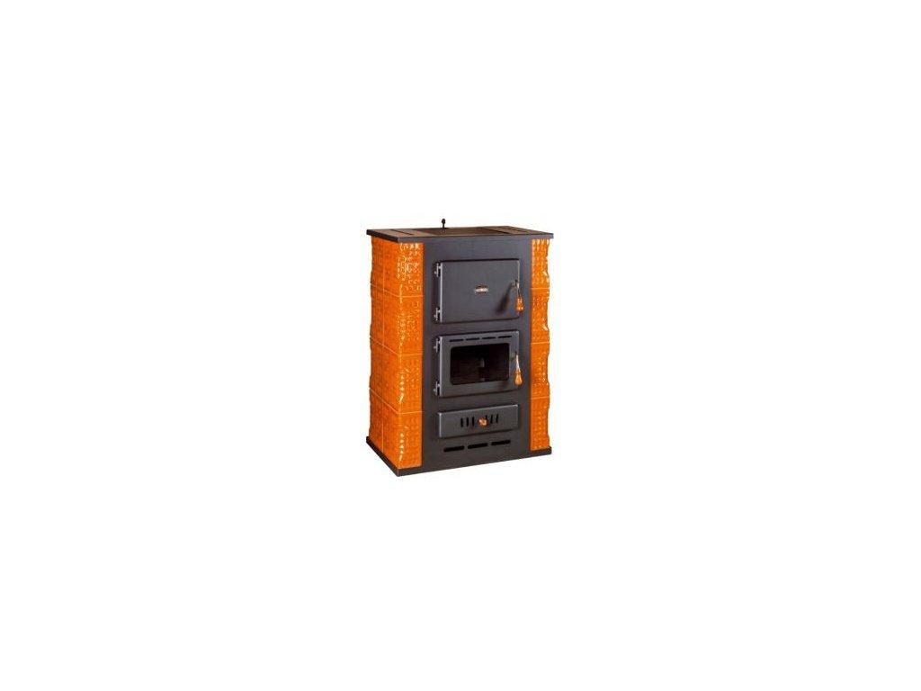 Kachlová kamna s teplovodním výměníkem Prity S3W13 K - černá
