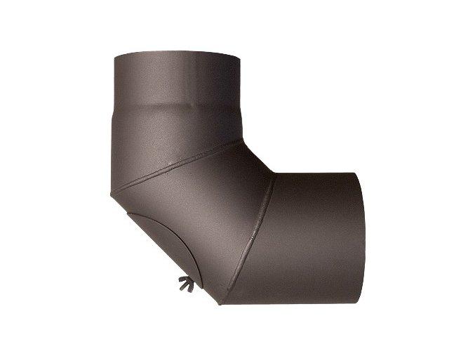 kouřovod koleno 150/90/1,5 s čistícím otvorem